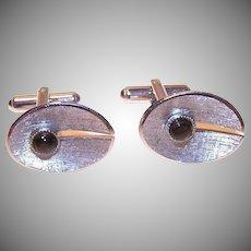 Vintage STERLING SILVER Cufflinks - Black Star Sapphire, Oval, Retro Modern