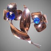 1950s RETRO MODERN Sterling Silver Vermeil & Blue Rhinestone Floral Pin!