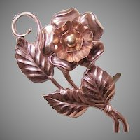 1950s Retro Modern STERLING SILVER Vermeil Floral Pin/Brooch!