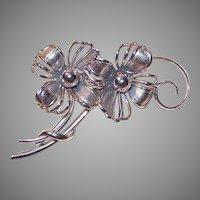 Vintage Retro Modern Sterling Silver Double Flower Pin by Forstner