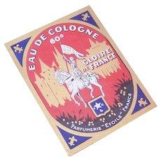 Vintage FRENCH Eau de Cologne Label - Unused with Joan of Arc Graphics!