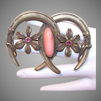 Antique Victorian Costume Pin Double Horseshoe