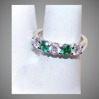 Vintage Sterling Silver Green Cubic Zirconia Clear CZ Engagement Ring