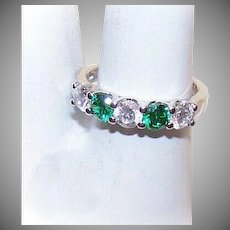 Vintage STERLING SILVER Ring - Cubic Zirconia, CZ, Engagement, Wedding, Band, Clear, Green