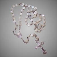 Vintage FRENCH SILVERPLATE Rosary - Mother of Pearl, Beads, Sacred Heart of Mary