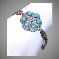 Vintage MIDDLE EASTERN Silver-Tone Costume Link Bracelet with Blue Stones!