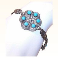Vintage MIDDLE EASTERN Silver-Tone Costume Link Bracelet with Blue Stones!