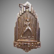 Vintage STERLING SILVER Vermeil Medal/Charm for Boy's Softball!