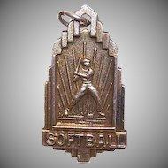 Vintage STERLING SILVER Vermeil Medal/Charm for Boy's Softball!