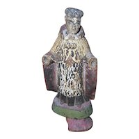 Antique Edwardian Handcarved & Painted Spanish Santos Figure - A Saint without Hands