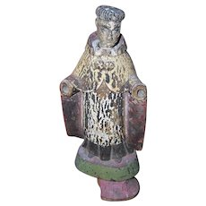 ANTIQUE  Handcarved & Painted  Santos Figure - A Saint without Hands!