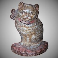C.1900 CAST IRON Doorstop - White Cat with Pink Ribbon!