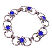 Retro Modern 1950s Sterling Silver Blue Rhinestone Floral Link Bracelet