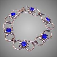 Retro Modern 1950s STERLING SILVER & Blue Rhinestone Link Bracelet!