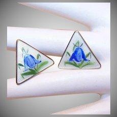 OPRO, Norway Sterling Silver & Enamel Clipback Earrings - Bluebells!