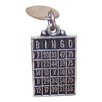 Sterling Silver Bingo Card Charm Las Vegas Nevada Souvenir Charm