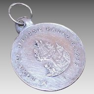 Antique FRENCH 800/900 Silver Religious Medal - Virgin & Child!