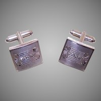 P&K Vintage STERLING SILVER Rhinestone Cufflinks