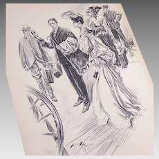 Dated 1903 B&W Book Illustration by Harrison Fisher - Lady & Gent Travelling!
