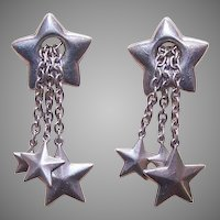 Vintage Sterling Silver Drop Earrings with Lots of Stars