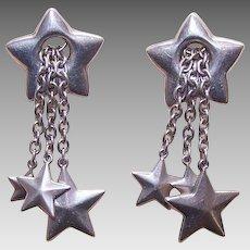 Vintage STERLING SILVER Drop Earrings - Lots of Stars!