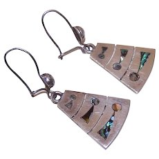 Vintage STERLING SILVER Earrings - Mexican, Abalone Inlay, Miguel Garcia Martinez, Pierced