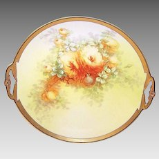 "Vintage LIMOGES FRANCE 11-1/2"" Plate with Handles - Artist Signed Chrysanthemums!"