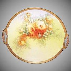 "Vintage LIMOGES FRANCE 11-1/2"" Plate with Handles - Artist Signed Chrysanthemums!"