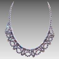 RETRO Unsigned Silver Metal & Blue Aurora Borealis Rhinestone Festoon Necklace!