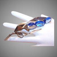 1950s STERLING SILVER & Blue Rhinestone Paste Floral Pin/Brooch!