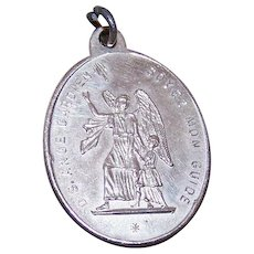 Unengraved Antique French Silverplate Religious Medal - Guardian Angel with Child