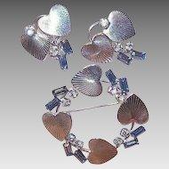 Vintage STERLING SILVER Set - Carl Art, Blue Rhinestone, Earrings, Pin, Brooch