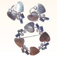 50s CARL ART Sterling Silver & Rhinestone Pin/Earrings Set!
