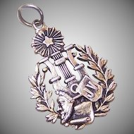 Edwardian FRENCH SILVER Award Medal/Pendant for the Musical Arts!