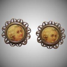 Historical VICTORIAN Gilt Metal & Celluloid Louis XIV Buttons