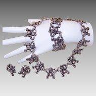 Vintage Mexican STERLING SILVER Parure - Necklace, Bracelet & Earrings!