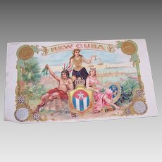 C.1900 NEW CUBA Cigar Box Label - Pristine Graphics of 2 Women & An Indian!