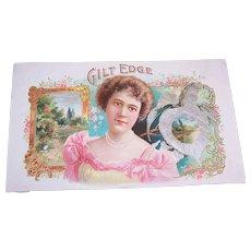 C.1900 GILT EDGE Cigar Box Label-Pristine Graphics of a Lovely Lady & Pastoral Scene!