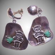 Fabulous RETRO 900 Silver & Emerald Drop Earrings from Colombia!