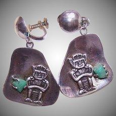 Fabulous RETRO 900 Silver & Emerald Drop Earrings from Colombia!