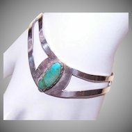 Vintage Mexican STERLING SILVER & Turquoise Cuff Bracelet!