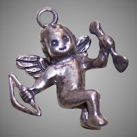 Vintage STERLING SILVER Charm - Cupid with Bow and Arrow