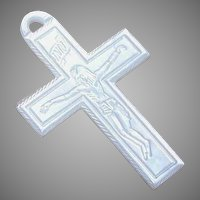 Art Deco MOTHER OF PEARL Pendant - French, Hand Carved, Crucifix, Cross
