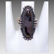 Wonderful 1970s STERLING SILVER & Mottled Agate Ring!