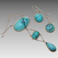 ANTIQUE EDWARDIAN 10K Gold & Turquoise Set - Negligee Necklace & Earrings!