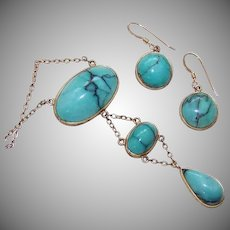 Antique 10K Gold Turquoise Jewelry Set