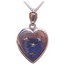 Antique Sterling Silver Rhinestone Heart Locket