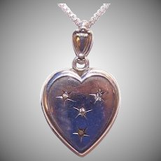 Antique Sterling Silver Rhinestone Heart Locket