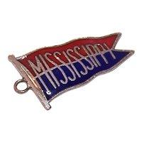 Vintage Sterling Silver Enamel Pennant Charm - Mississippi