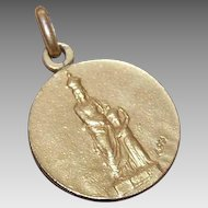 Edwardian FRENCH 18K Gold Filled Pendant or Medal - Saint Anne & the Infant Mary